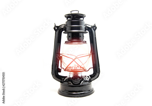 Photo Oil lamp isolated on white background - old Lantern vintage classic black