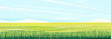 Green Wheat Field With Stalks On Light Sky, Summer Countryside With Green Young Crops, Agricultural Summer Landscape, Grains Harvest Flat Illustration