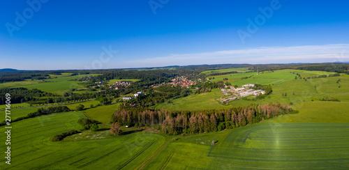 Fotobehang Rijstvelden Luftbildaufnahmen aus dem Harz Ortschaft Güntersberge