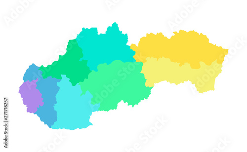 Fototapeta Vector isolated illustration of simplified administrative map of Slovakia