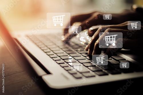 Businesswoman laptop using , online shopping concept. Canvas Print