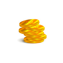 Stack Of Gold Coins On A White Background.