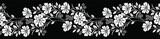 Fototapeta Kwiaty - Seamless black and white floral border