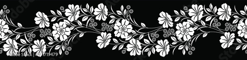 Photo  Seamless black and white floral border