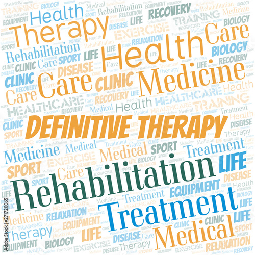 Photo  Definitive Therapy word cloud. Wordcloud made with text only.