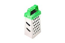 One Clean Glossy Metal Sharp Grater With Green Plastic Handle For Different Products For Cooking Isolated On White Background