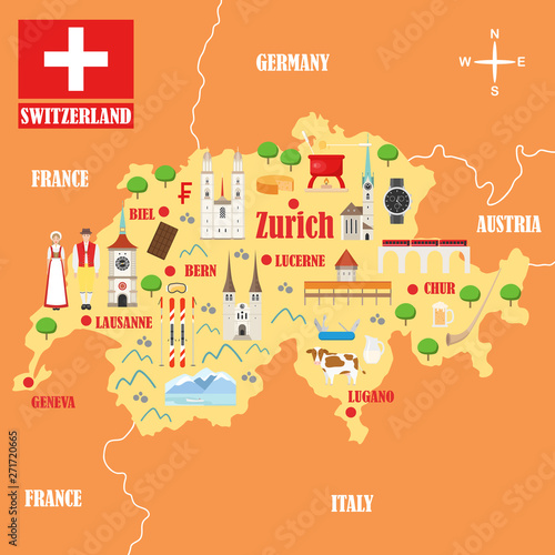 Map of Switzerland with landmarks Billede på lærred