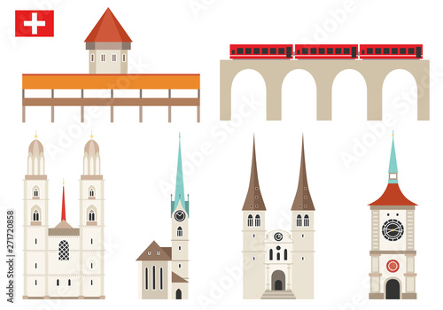 Foto Set of Switzerland landmark icons in flat style
