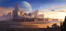 Desolate Alien, Desert Castle, Science Fiction Illustration, Digital Illustration,3D Rendering.