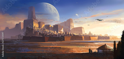 Vászonkép Desolate alien, desert castle, science fiction illustration, digital illustration,3D rendering