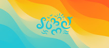 Summer. Background With Beach And Water. Can Be Used As A Greeting Card. Vector Illustration.