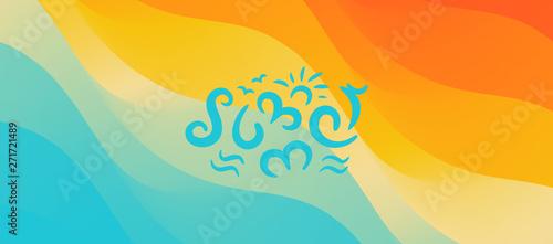 Lato. Tło z plażą i wodą. Może być używany jako kartka okolicznościowa. Ilustracji wektorowych.