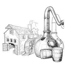 Whiskey From Grain To Bottle. A Swan Necked Copper Stills, Oak Casks Used For Aging And A Watermill On A Background. Black And White Ink Style Drawing Isolated On White Background. EPS10 Vector.
