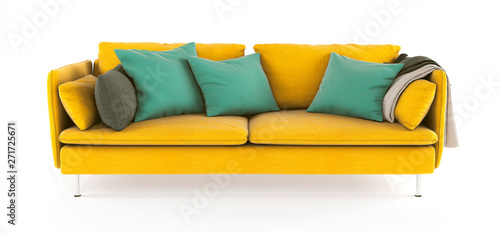 Modern scandinavian yellow sofa with legs with emerald green pillows and plaid on isolated white background. Furniture, interior object.