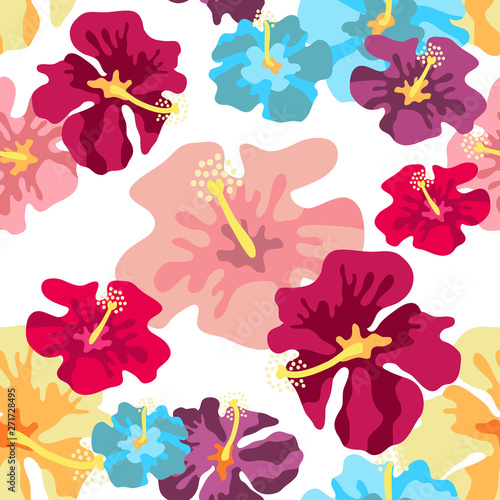 Tuinposter Seamless vector pattern with large tropical flowers.