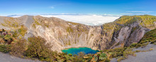 Panoramic View To The Edge Of Crater Irazu Volcano At Irazu Volcano National Park In Costa Rica