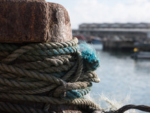 Old, Frayed Mooring Rope In Fi...