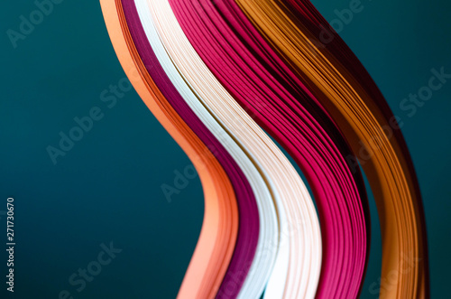 Fotomural  Abstract green background with orange, burgundy and white stripes