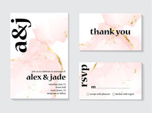 Wedding Rose Gold  Invitations Concept And Card Template Design With Painted Canvas Pink And Gold Foil In Luxurious Tender Soft Style Vector Illustration