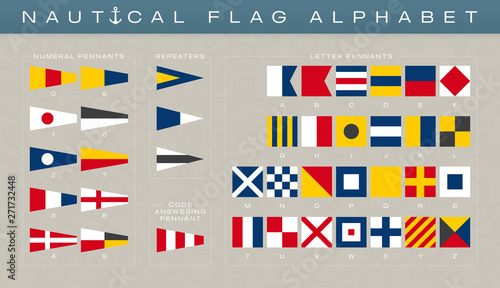Fotografia Vector international marine alphabet and nubers flags