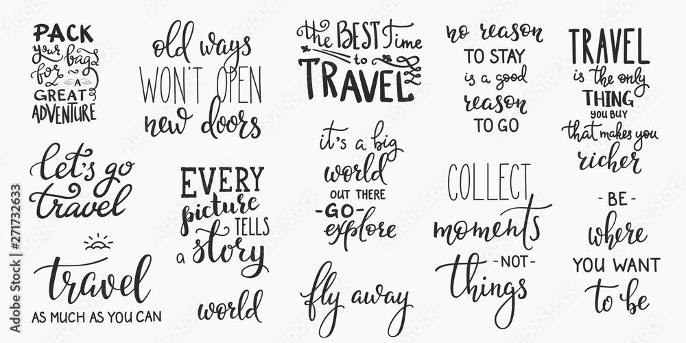 Fototapeta Travel life inspiration quotes lettering