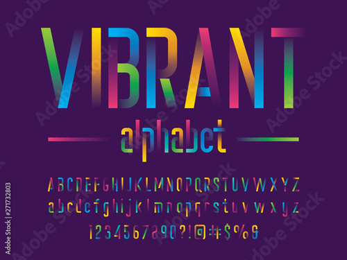 Photo  Modern gradient alphabet design with uppercase, lowercase, numbers and symbol
