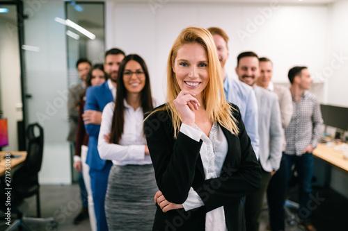 fototapeta na lodówkę Portrait of business team posing in office