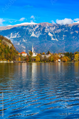 View Of Lake Bled With Church Slovenia Autumn Colorful