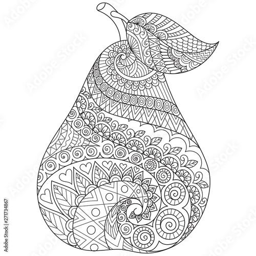 Fotografia, Obraz Line art drawing of pear with editable stroke width for printing on stuffs and adult coloring book or coloring page