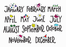 Months Year Calendar Lettering Typography