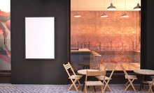 Cafe Facade Mockup With Branding Wall And Poster