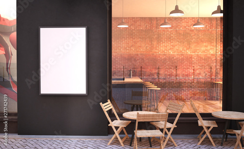 cafe facade mockup with branding wall and poster Tapéta, Fotótapéta