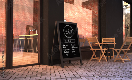 фотография blackboard stand mockup