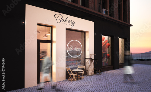 Fotografia bakery shop storefront mockup