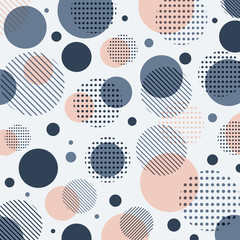 FototapetaAbstract modern blue, pink dots pattern with lines diagonally on white background.