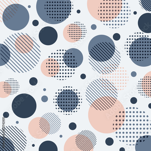 Pinturas sobre lienzo  Abstract modern blue, pink dots pattern with lines diagonally on white background