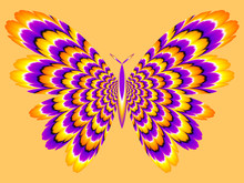 Ellow And Purple Butterfly. Optical Expansion Illusion.