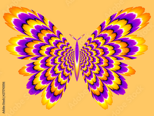 Fotografie, Obraz ellow and purple butterfly. Optical expansion illusion.