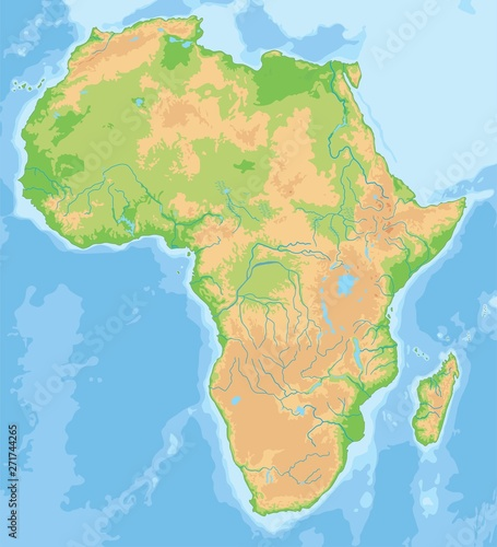 Obraz na plátně High detailed Africa physical map.
