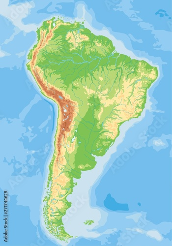 Wallpaper Mural High detailed South America physical map.
