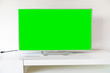canvas print picture - Modern television with chroma key green screen. A modern LCD TV with a green screen