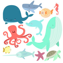 Sea Life Set. Hand Drawn Whale...