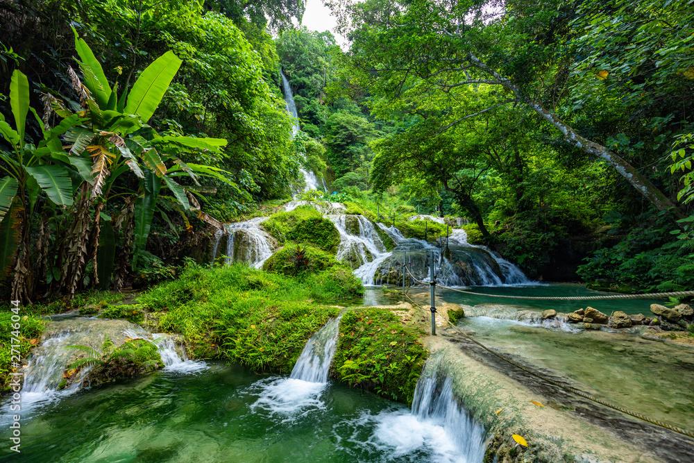 Fototapeta Mele Maat Cascades in Port Vila, Efate Island, Vanuatu, South Pacific