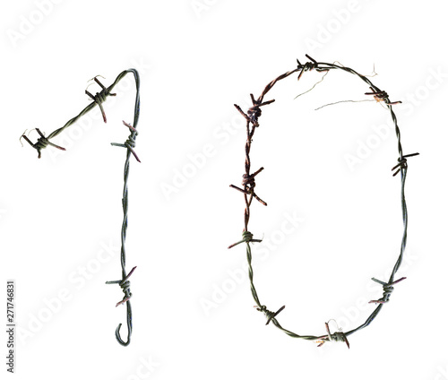 Fotomural Number barbed wire