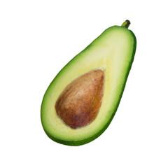 slice of avocado isolated