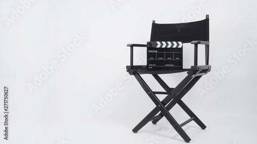 Photographie Black Clapper board or movie slate with director chair use in video production or movie and cinema industry