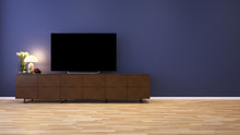 Wooden Low Cabinet With TV And Decoration In Purple Wall Livingroom - 3D Rendering