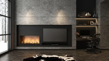 Modern Built-in TV Marble Stone Wall With Fireplace And Computer Working Table - 3D Rendering