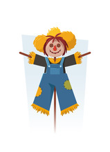 Funny Cartoon Scarecrow. Vector Illustration