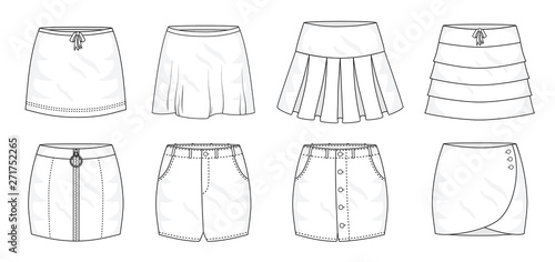 Fotografie, Obraz Set of summer sprint mini skirts and fashion stylish skirts collection template, fill in the blank apparal tops bottoms various styles